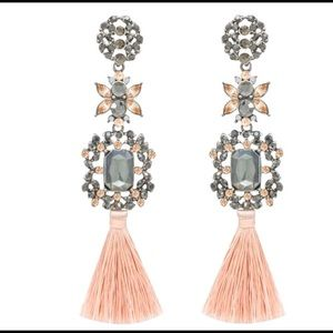 "Beautiful Silk Thread Tassel Earrings 4"" Long"